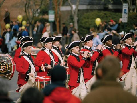 Fife and drum corps in the parade during George Washington's Birthday Celebration Weekend