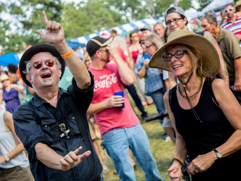 Enthusiastic VIPs at the Highland Jazz and Blues Festival