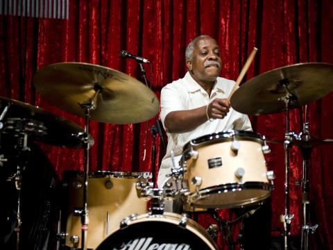 A drummer performs at the Portland Jazz Festival