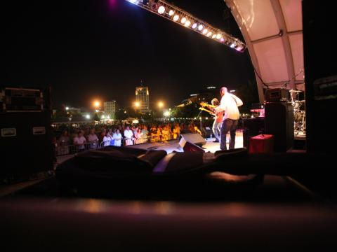Playing to the crowd at Kalamazoo Blues Festival