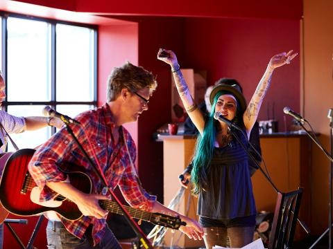 Songwriters perform during the Steel Bridge Songfest in Door County, Wisconsin
