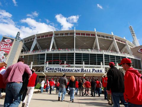 Entering the Great American Ball Park on Reds' opening day for baseball