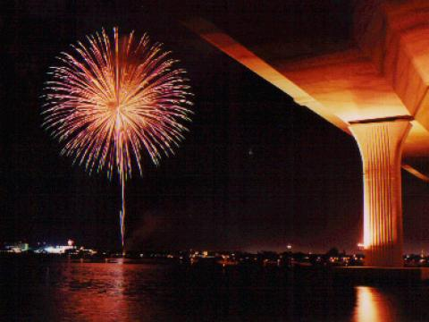 Fireworks display on the 4th of July in Stuart, Florida
