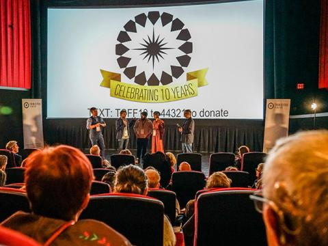 Question-and-answer session on the stage during the Twin Cities Film Fest